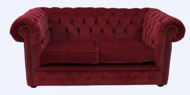 Chesterfield 2 Seater Settee Pimlico Wine Fabric Sofa Offer