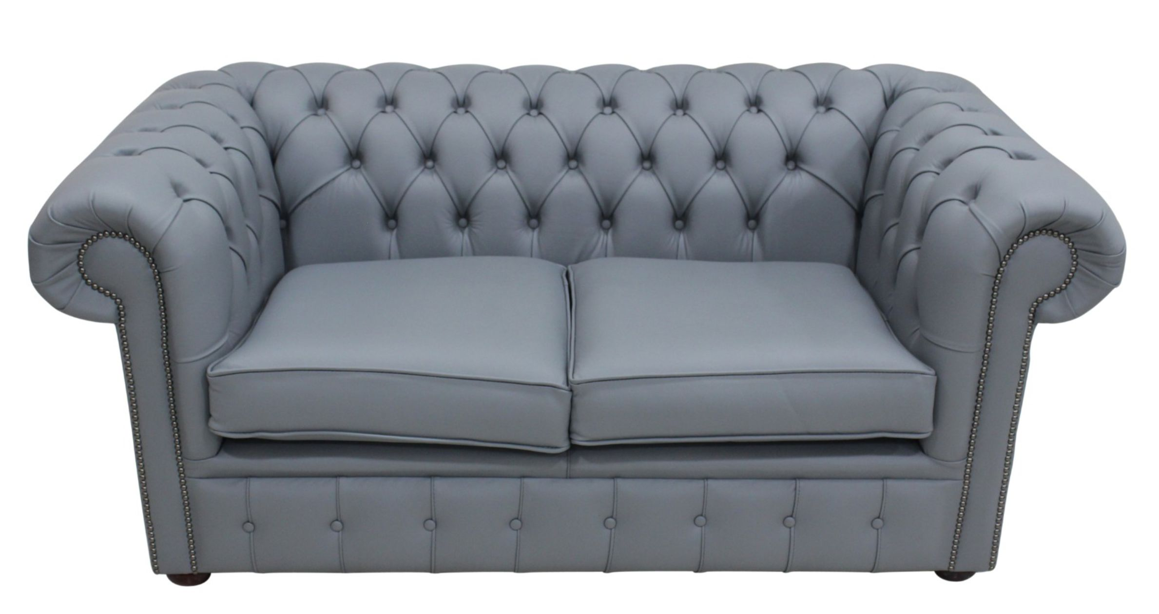 Chesterfield 2 Seater Shelly Piping Grey Leather Sofa