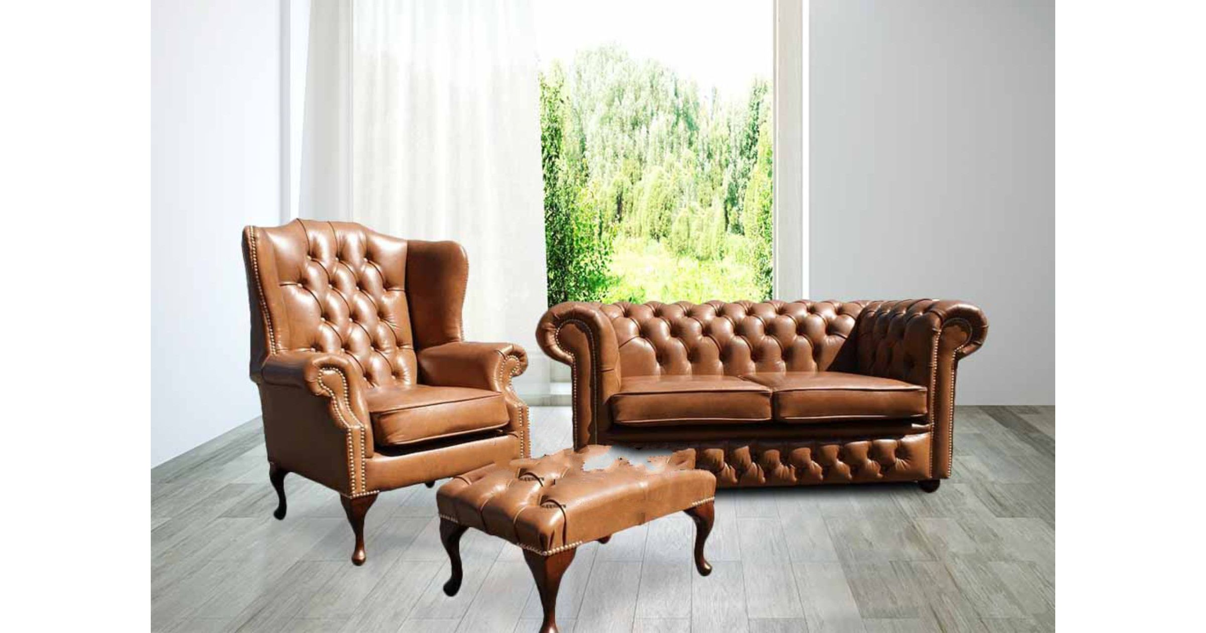 Picture of: Buy Leather Sofa Suite Brown Leather Chesterfield Furniture Designersofas4u