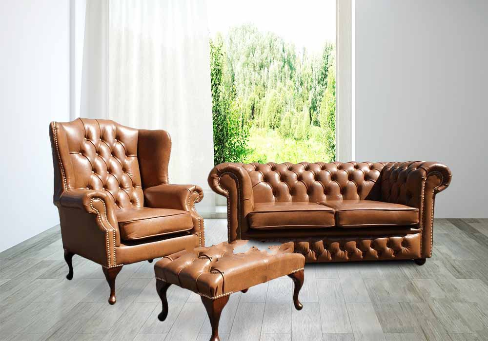 Chesterfield 2 Seater Sofa Settee + Wing Chair Old English Tan Leather