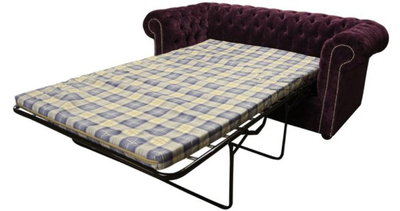 Buy luxury purple fabric Chesterfield sofa bed | DesignerSofas4U