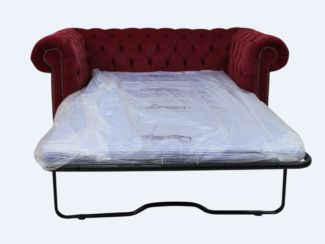 Chesterfield 2 Seater Settee Sofa Bed Pimlico Wine Fabric