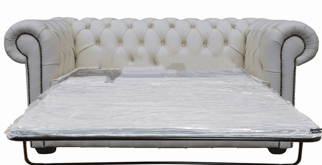 Buy 2 Seater White Leather Chesterfield Sofa Bed Online