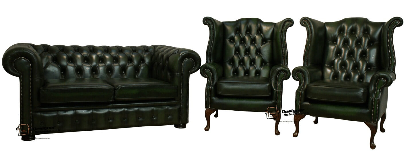 Buy Leather Chesterfield Queen Anne Suite Designersofas4u