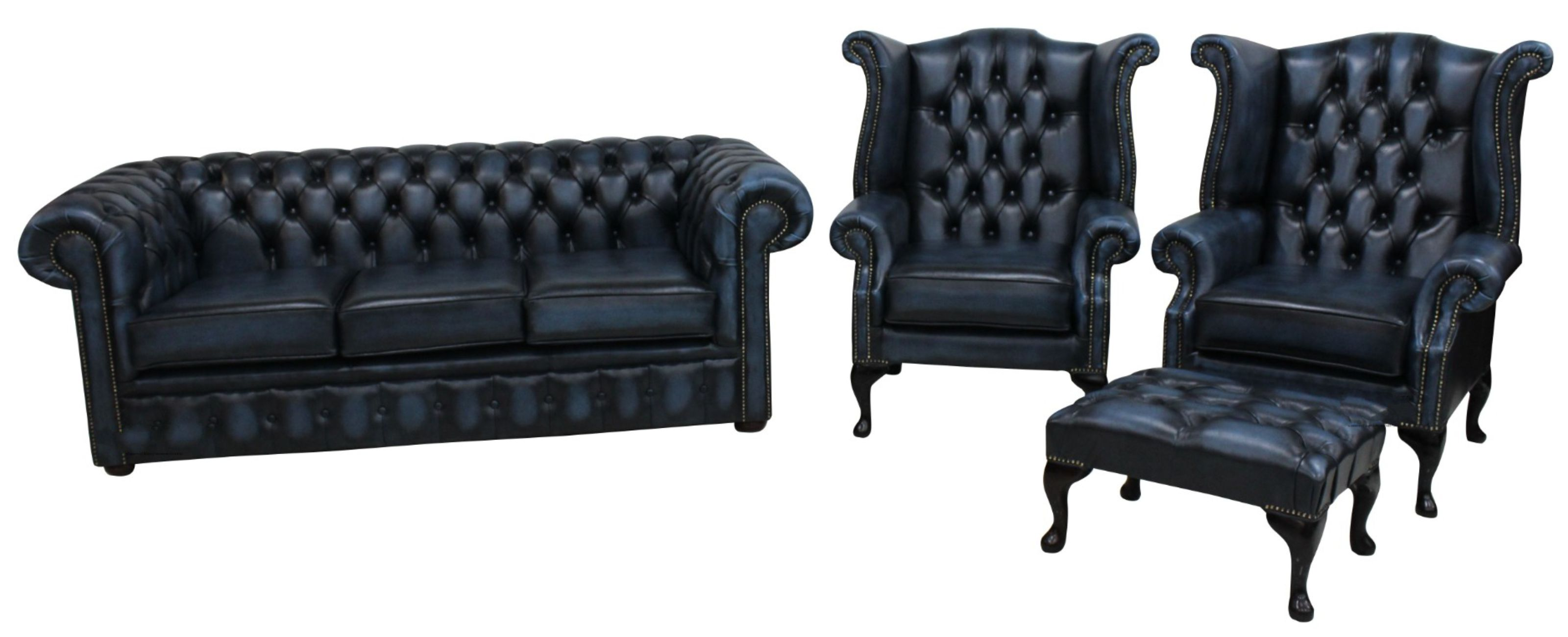 Chesterfield 3 Piece Leather Suite Three Seater Sofa + 2 x Queen Anne Wing  Chairs Leather Antique Blue + Free Matching Footstool