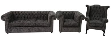 Chesterfield 3 Piece Suite Grey Fabric