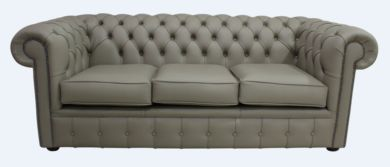 Chesterfield 3 Seater Settee Ash Leather Sofa Offer