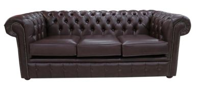 Chesterfield 3 Seater Burgandy Bonded Leather Sofa Offer