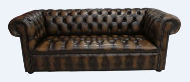 Chesterfield 3 Seater Buttoned Seat Sofa Antique Tan Leather