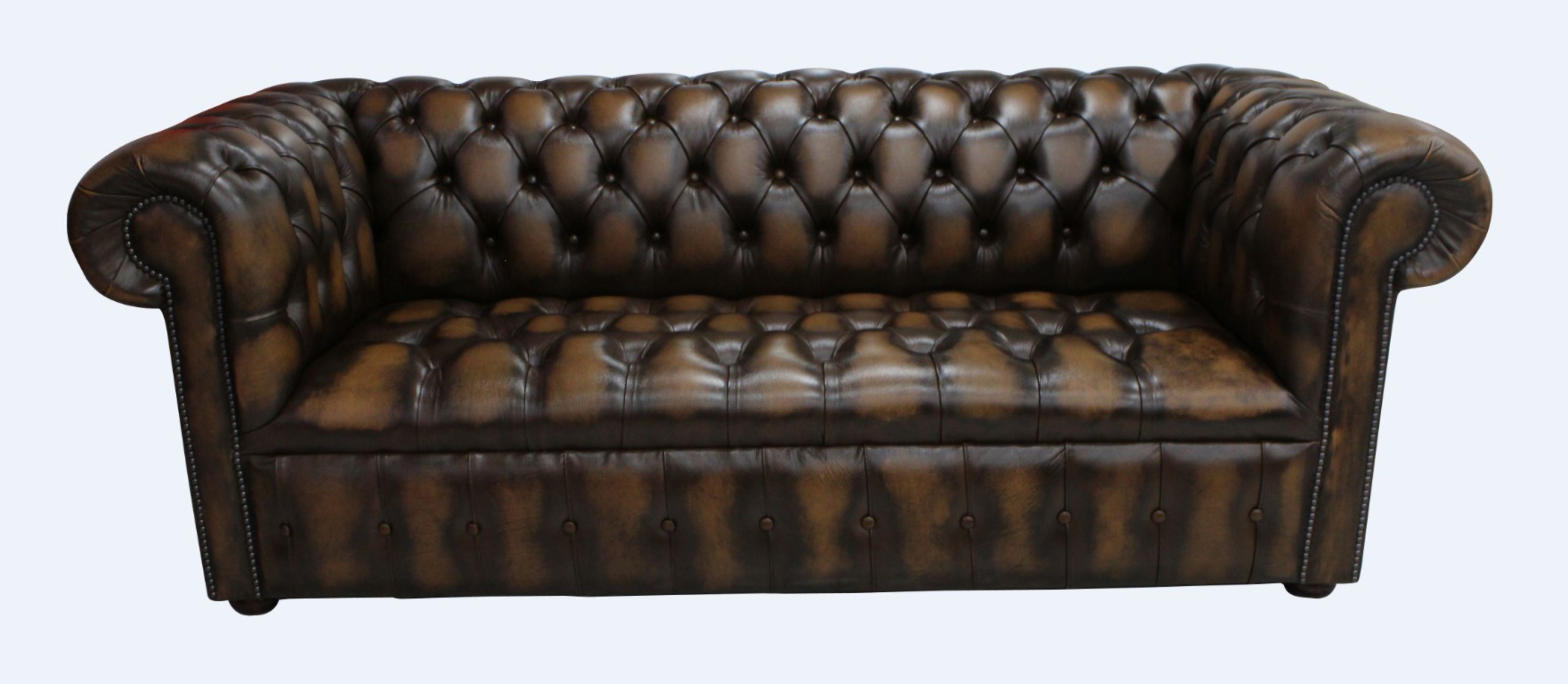 Tan Edwardian Chesterfield Buttoned Seat 3 Seater Sofa Designersofas4u