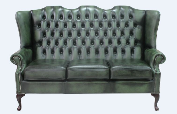 Chesterfield 3 Seater Mallory Queen Anne High Back Wing Sofa Chair Antique Green Leather