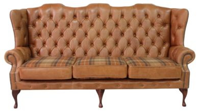 Ludlow Tan Chesterfield 3 Seater High Back sofa | Finance Available | DesignerSofas4U