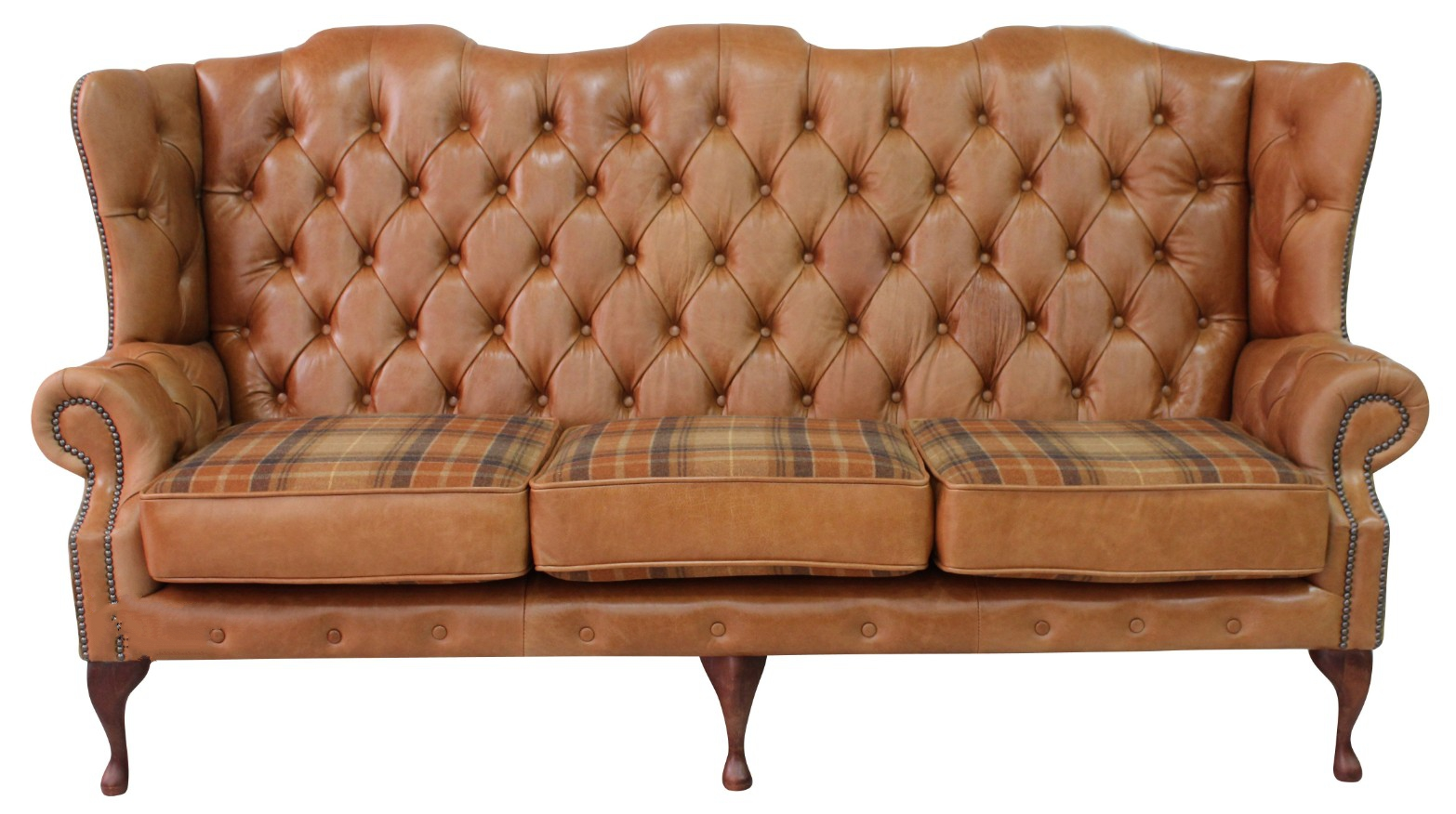 e90e3bc49eba2 Chesterfield 3 Seater Queen Anne High Back Sofa Old English Tan Leather  Vintage Caramel Wool