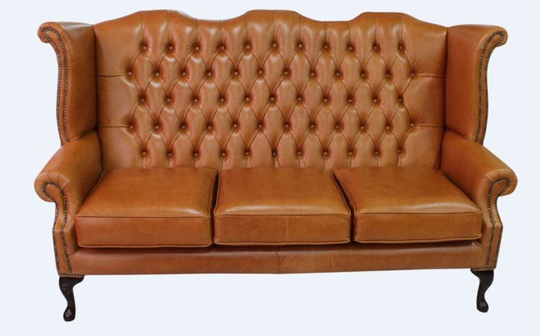 Chesterfield 3 Seater Queen Anne High Back Wing Sofa Old English Bruciato Leather