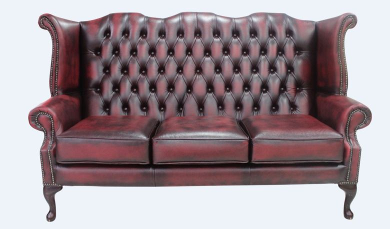 Chesterfield 3 Seater Queen Anne High Back Wing Sofa Chair Antique Oxblood Leather