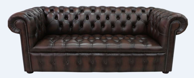 Chesterfield 3 Seater Buttoned Seat Sofa Antique Brown Leather