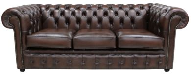 Chesterfield London 3 Seater Sofa Settee Antique Brown Leather