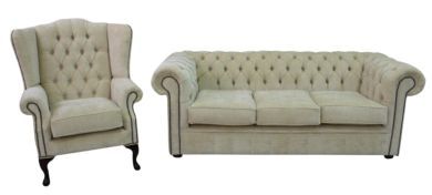Chesterfield 3 Seater + Mallory Wing Chair Velluto Chiffon Fabric Sofa Suite Offer