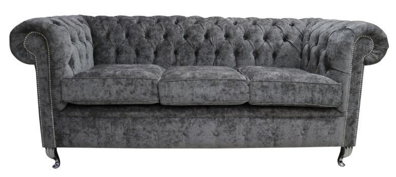 Chesterfield 3 Seater Sofa Settee Belvedere Pewter Grey Metal Feet