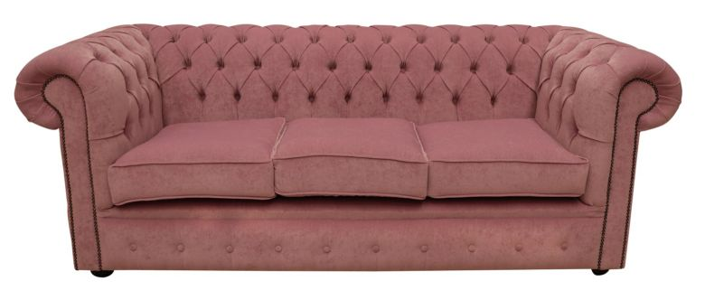 Chesterfield 3 Seater Settee Pimlico Lilac Fabric Sofa Offer