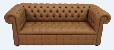 Chesterfield 3 Seater Buttoned Seat Infinity Camel Faux Leather Sofa Offer