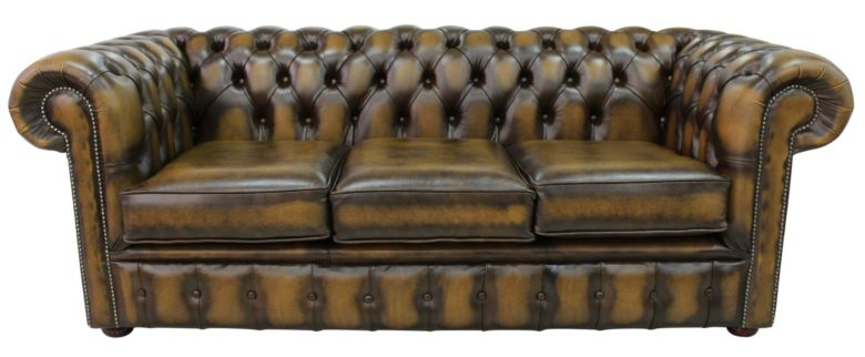 Chesterfield 3 Seater Antique Gold Leather Sofa Offer