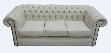 Chesterfield 3 Seater Settee Charles Linen Cream Sofa Offer