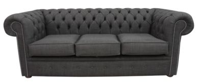 Chesterfield 3 Seater Settee Charles Linen Charcoal Grey Sofa Offer