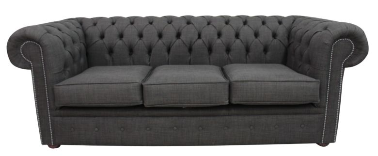 DesignerSofas4U | Buy grey linen Chesterfield 3 seater sofa settee