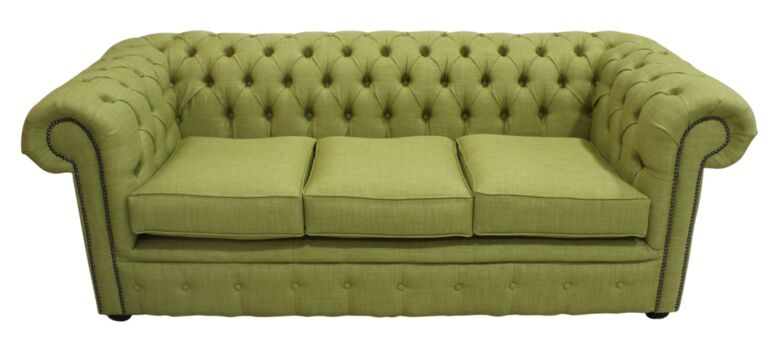 Chesterfield 3 Seater Settee Charles Linen Olive Green Sofa Offer