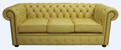 Chesterfield 3 Seater Settee Deluca Yellow Leather Sofa Offer