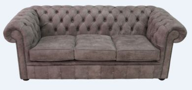 Chesterfield 3 Seater Sofa Devil Mocha Aniline Leather Settee