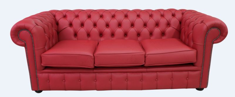Image of Chesterfield 3 Seater Sofa Settee Shelly Flame Red Leather