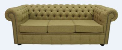 Chesterfield Arnold Wool 3 Seater Sofa Settee Glamis Goldcrest
