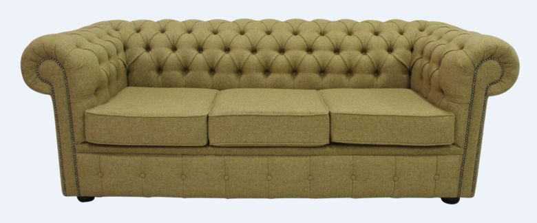 Gold Chesterfield Arnold Moons Wool 3 Seater sofa | DesignerSofas4U