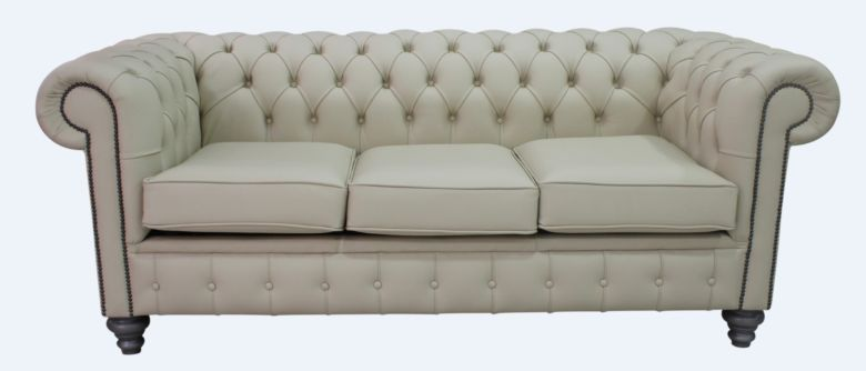 Chesterfield 3 Seater Sofa Settee Shelly Ivory Cream Leather Grey Feet