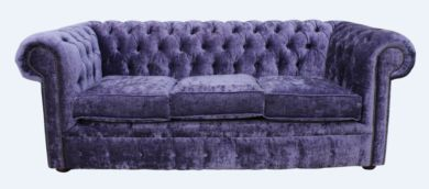 Chesterfield 3 Seater Settee Modena Lilac Velvet Sofa Offer