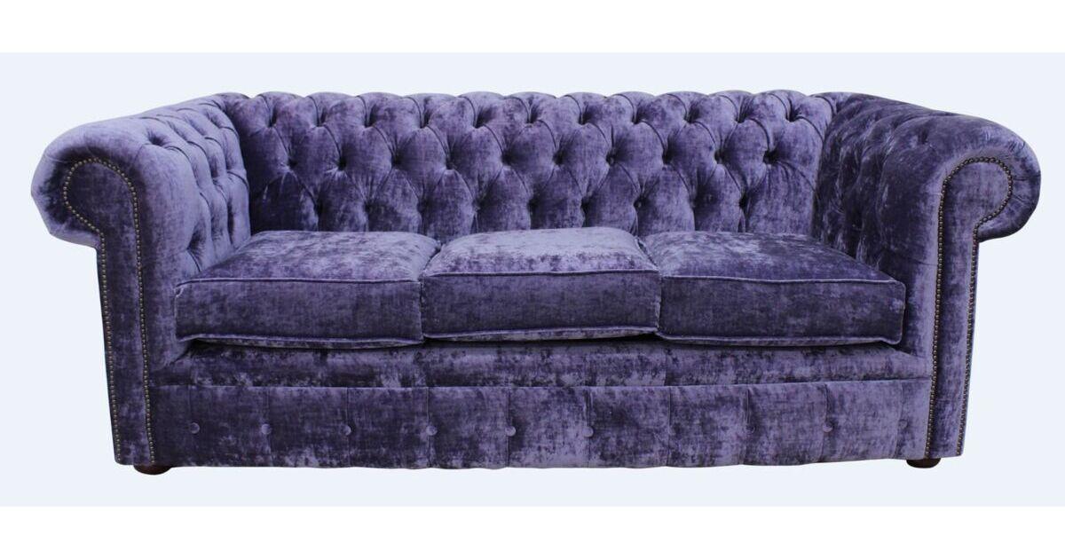 Lilac Velvet Chesterfield 3 Seater Sofa Settee