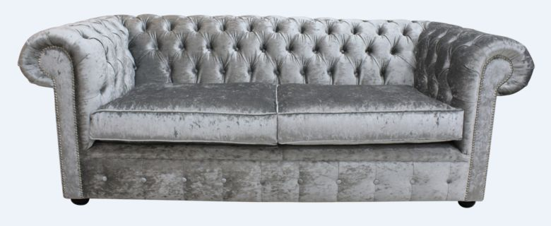 b1015d62a172 Chesterfield 3 Seater Settee Modena Silver Velvet Sofa Offer