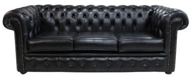 Chesterfield 3 Seater Settee Old English Black Leather Sofa Offer