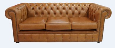 Chesterfield 3 Seater Settee Old English Bruciato Leather Sofa