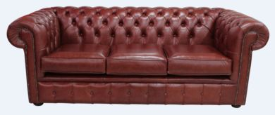 Chesterfield 3 Seater Settee Old English Chestnut Leather Sofa