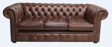 Chesterfield 3 Seater Settee Old English Hazel Leather Sofa