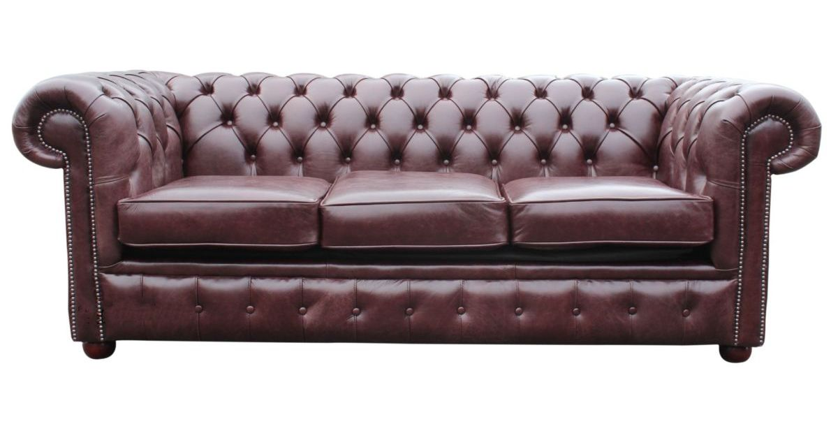 Brown Red Leather Chesterfield Sofa Bed Designersofas4u