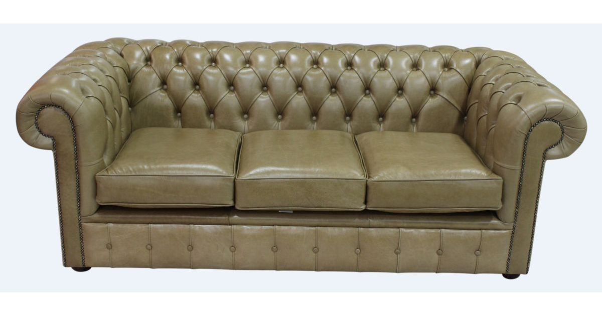 Sand chesterfield 3 seater settee sofa designersofas4u for Sand leather sofa