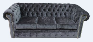 Chesterfield 3 Seater Settee Pastiche Steel Velvet Sofa Offer