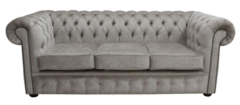 Chesterfield 3 Seater Settee Perla Oyster Velvet Sofa Offer