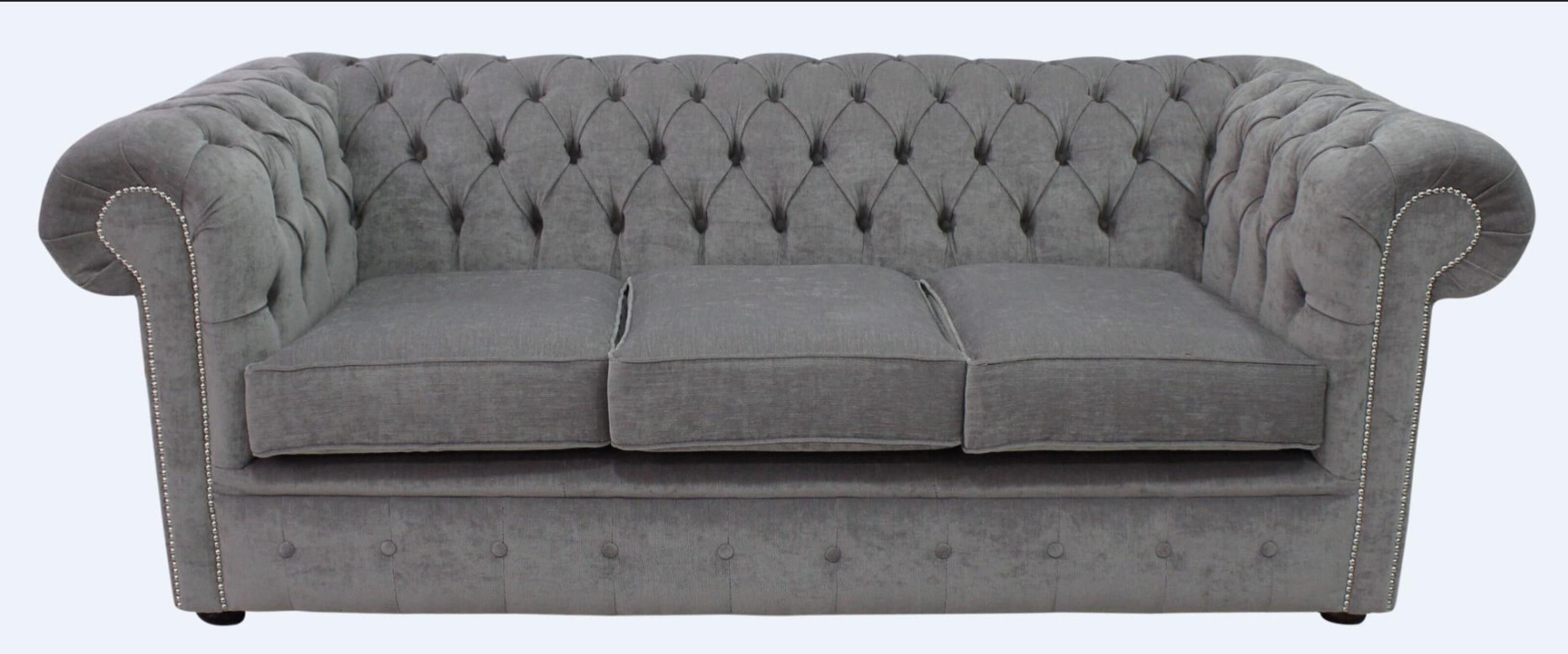 Grey Fabric Chesterfield Sofa Designersofas4u
