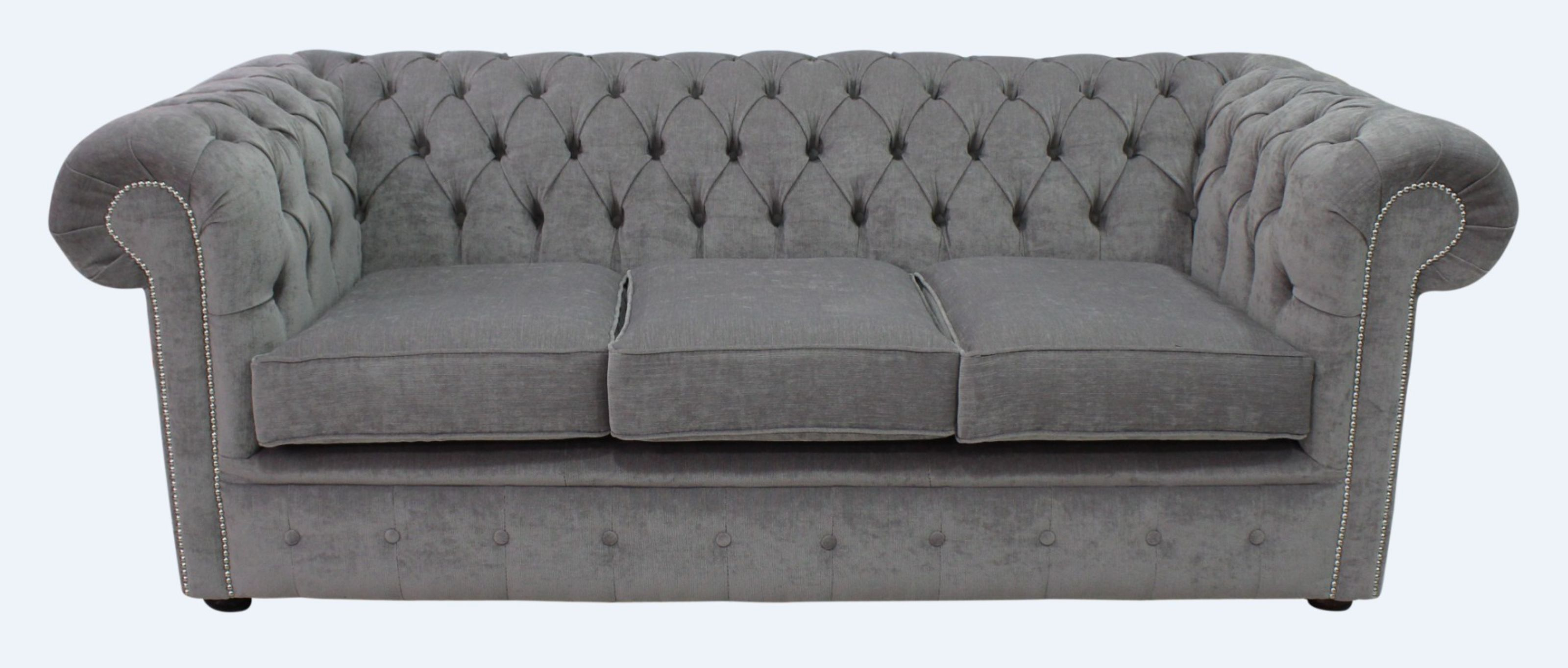 Grey Fabric Chesterfield Sofa Designersofas4u