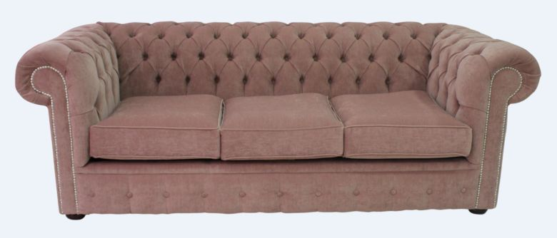 Chesterfield 3 Seater Settee Pimlico Rose Fabric Sofa Offer